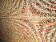 Inscriptions of the names of holocaust victims in Pinkas Synagogue